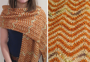 Ripple-stitch scarf in Galler Alpaca, Color Song silk-blend Maiden Hair, and Artyarns Beads Mohair & Sequins ($130).