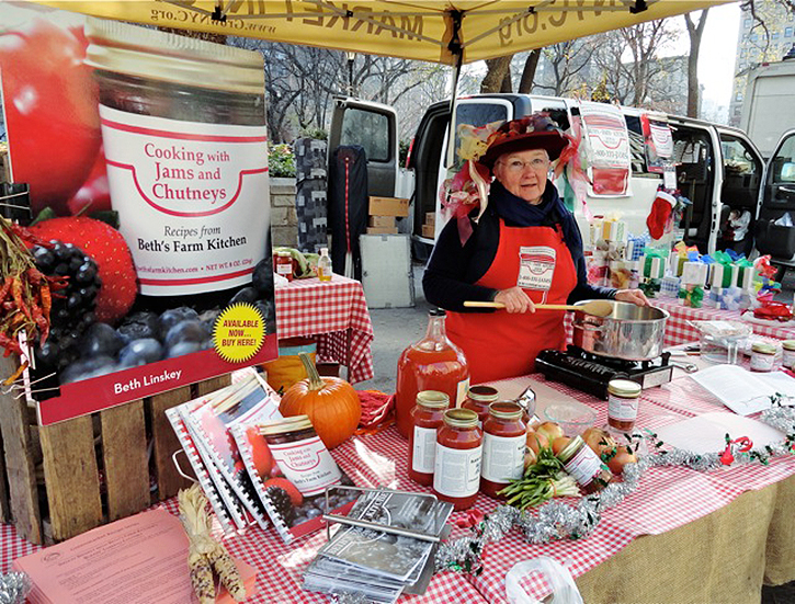 Beth Linskey, founder of Beth's Farm Kitchen, in Stuyvesant Falls, NY, at the Union Square Greenmarket.