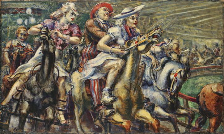 "Reginald Marsh American, 1898–1954 Wooden Horses, 1936 Tempera on board; 24 x 40"" Wadsworth Atheneum Museum of Art The Dorothy Clark Archibald and Thomas L. Archibald Fund,The Krieble Family Fund for American Art, The American Paintings Purchase Fund, and The Ella Gallup Sumner and Mary Catlin Sumner Collection Fund, 2013.1.1"