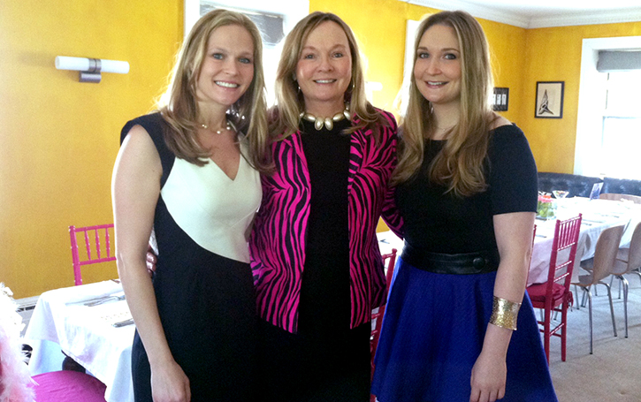 MOB Kim Johnson Gross (center) with daughters Glenna (left) and maid-of-honor Carolyn (right) at a shower.