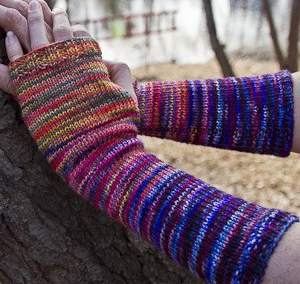 Chiagu's Freemans Alley Mitt Kit in three successive colorways of Koigu merino ($30).