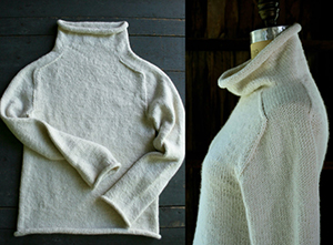 Funnel-neck pullover in Purl Soho Worsted Twist merino, ($150 in medium).