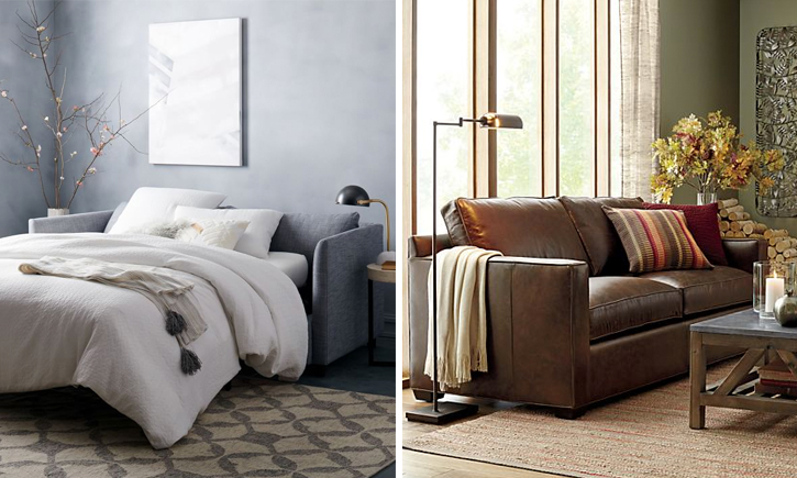 Shelter Sleeper Sofa from West Elm and the Davis Queen Sleeper Sofa in leather from Crate and Barrel.
