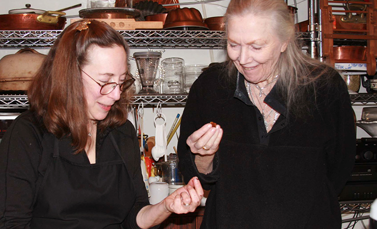 Rose and Betty Fussell taste the double-chocolate buttercrunch. Happy!