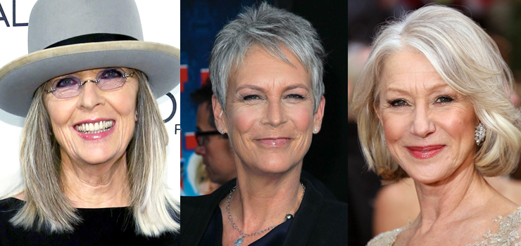Diane Keaton, Jamie Lee Curtis, Helen Mirren gray hair