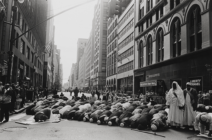 Prayer before Muslim Day Parade