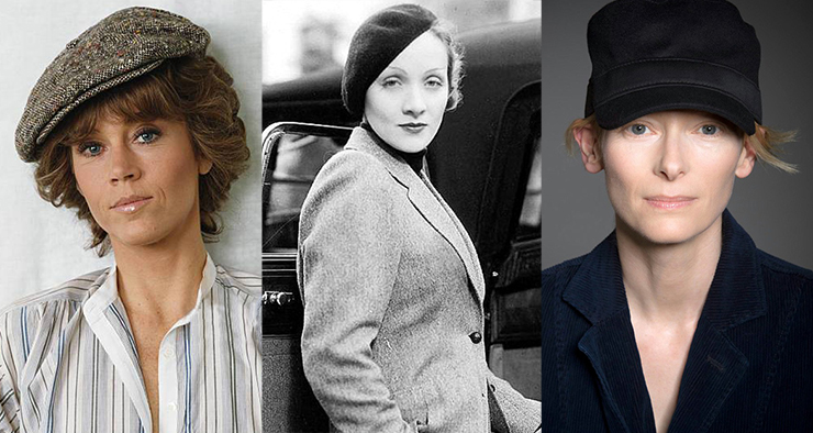 Jane Fonda in a tweed newsboy cap, Marlene Dietrich in a classic beret and Tilda Swinton in a Fidel Castro-style military cap