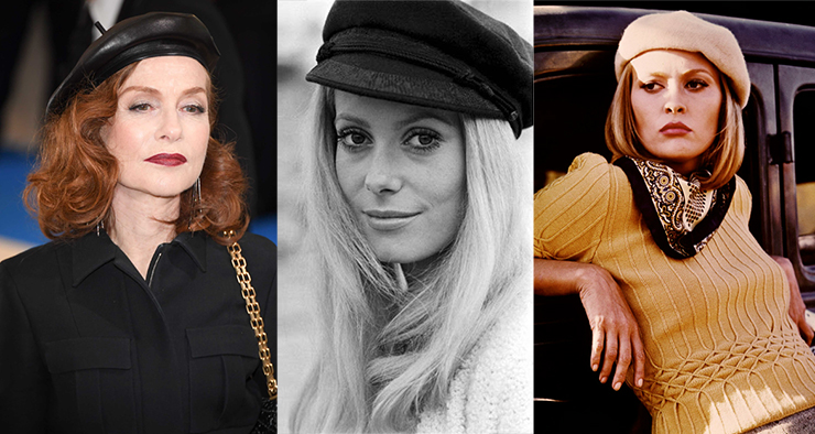 Isabelle Huppert in a leather beret, Catherine Deneuve in a Captain's-style cap, and Faye Dunaway in a cashmere beret.