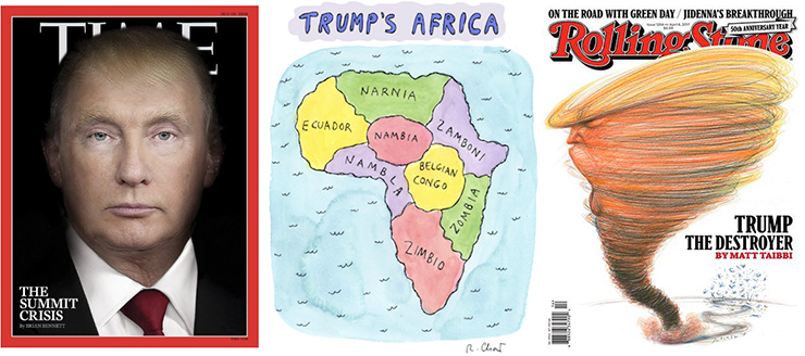 Nancy Burson superimposed Trump face on Putin's, Roz Chast Trump's map of Africa, and Victor Juhasz Rolling Stone cover.