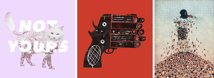 "Nicole Licht ""Not Yours"" poster, Melinda Beck multi-barreled gun, and Yuko Shimizu ""Dusting off the Male Gaze."""