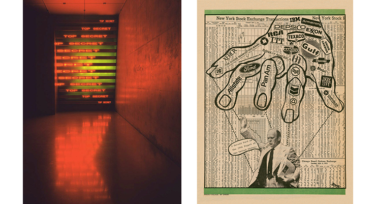 """Jenny Holzer, """"Red, Yellow, Looming""""; Emory Douglas, The Black Panther newspaper."""