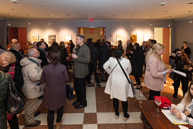 Concertgoers mingle, Aspect Foundation for Music & Arts